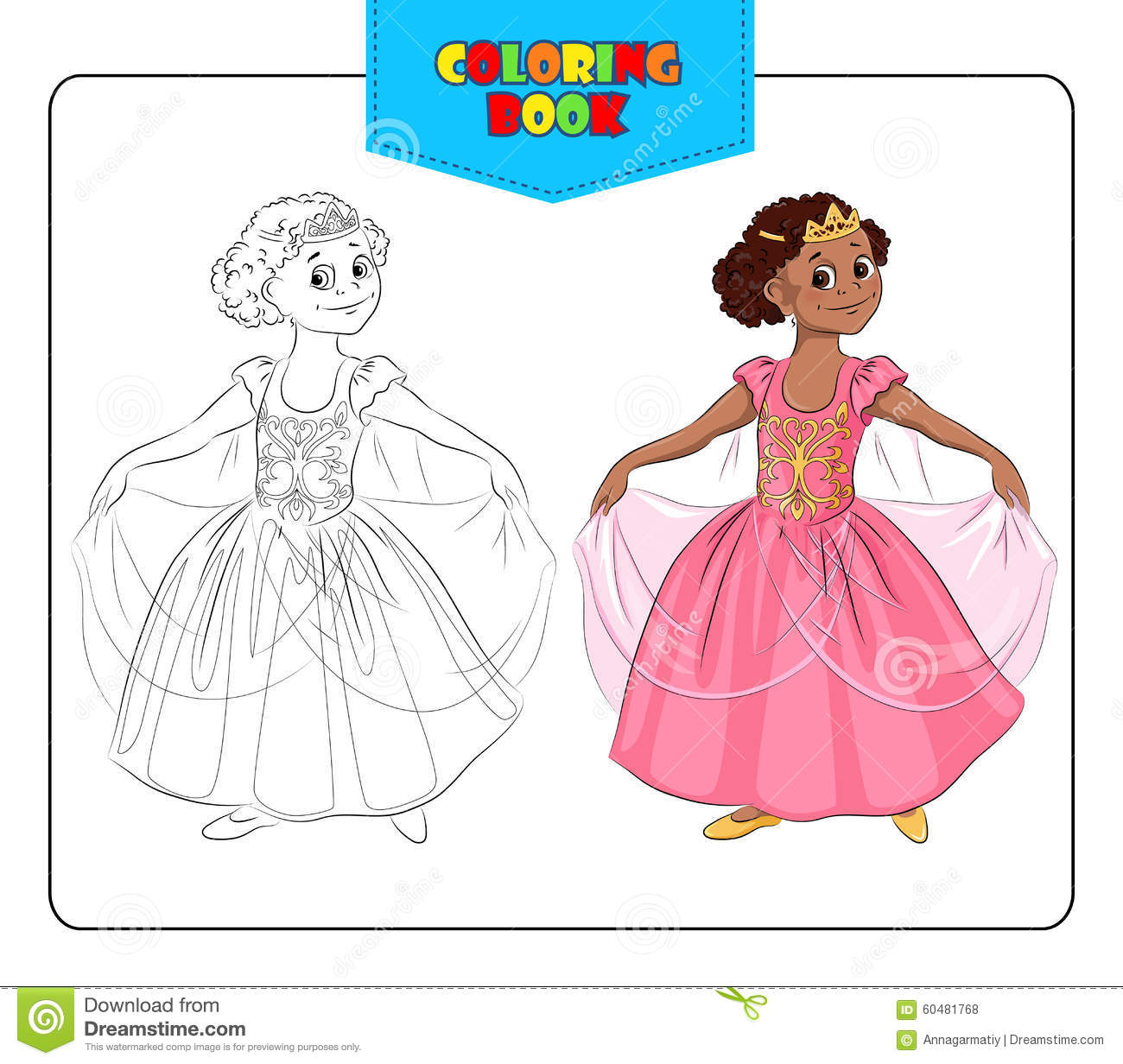 Little Girl In Carnival Costume Princess Coloring Book