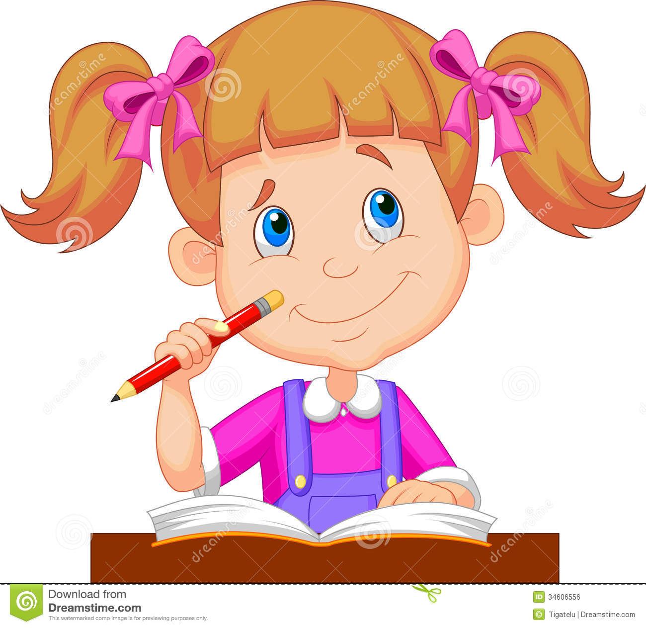 Little Girl Cartoon Studying Stock Vector Illustration