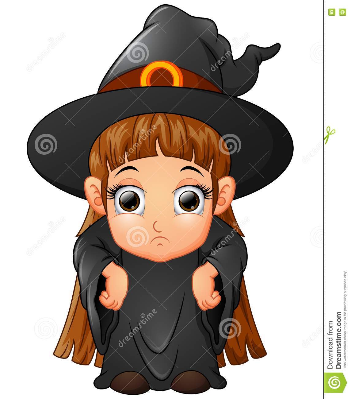 Little girl cartoon wearing witch costume  sc 1 st  Dreamstime.com & Little Girl Cartoon Wearing Witch Costume Stock Vector ...