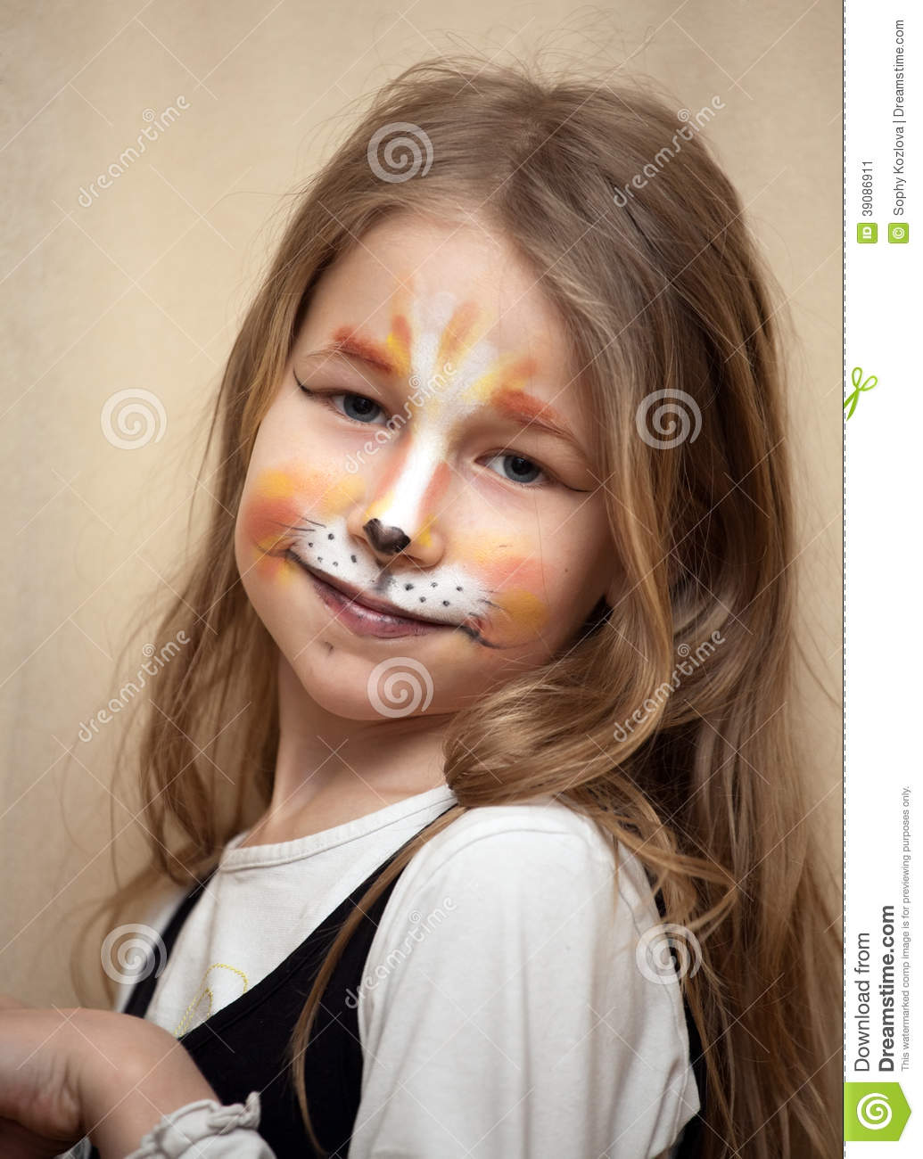 little girl with cat painting makeup portrait stock image. Black Bedroom Furniture Sets. Home Design Ideas