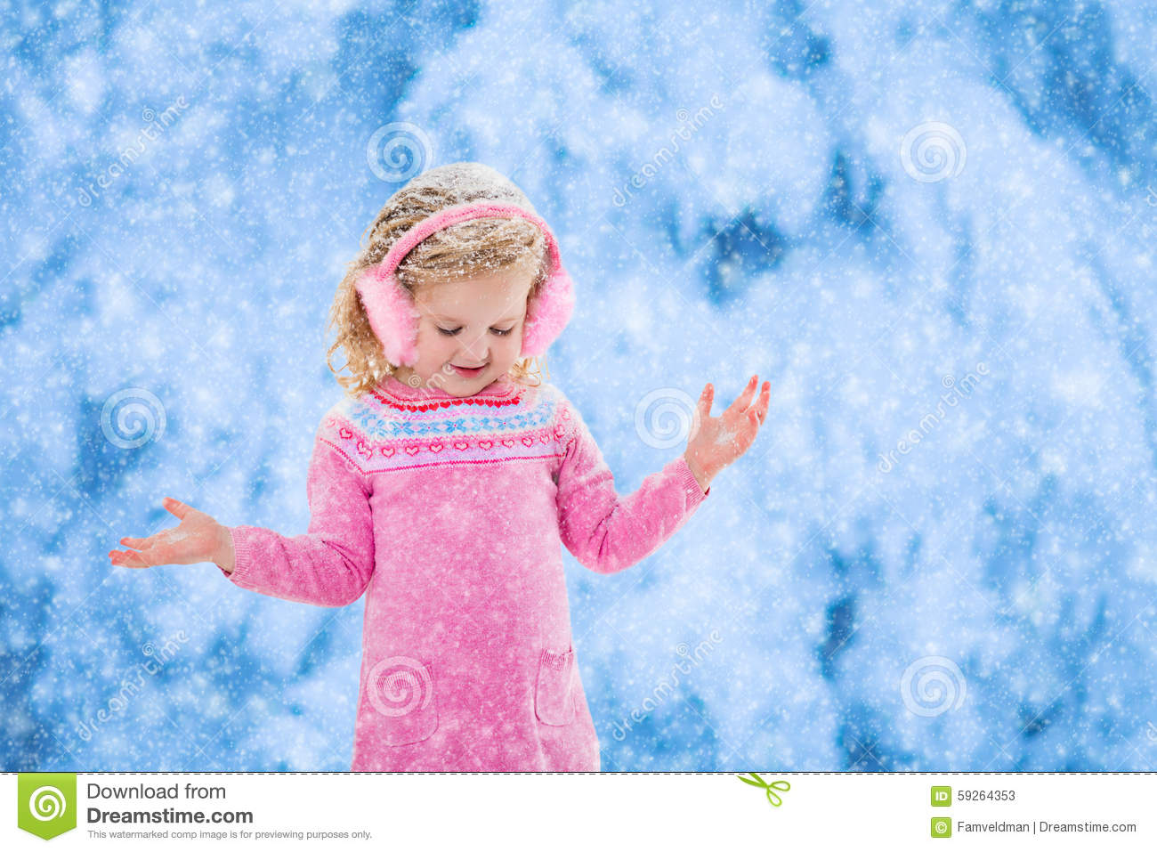 Little Girl Catching Snow Flakes Royalty-Free Stock Image ...