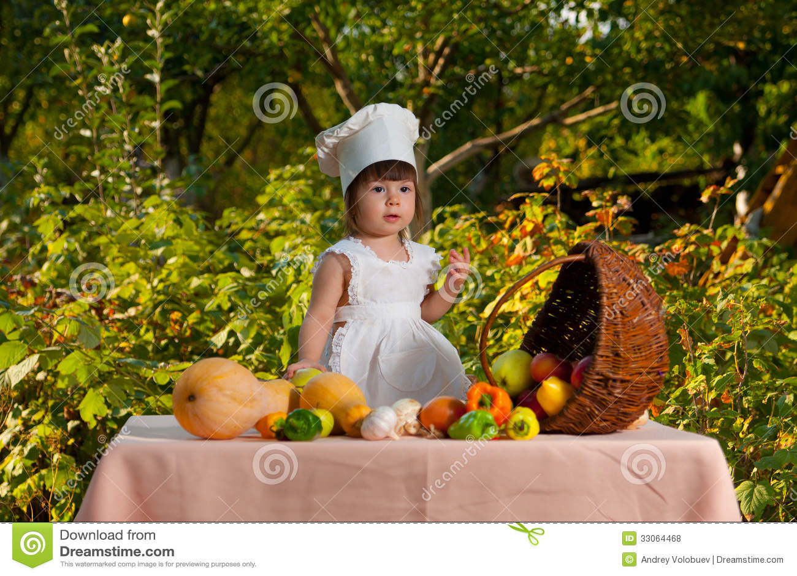 Chef Garden: Little Girl Chef Royalty Free Stock Photos