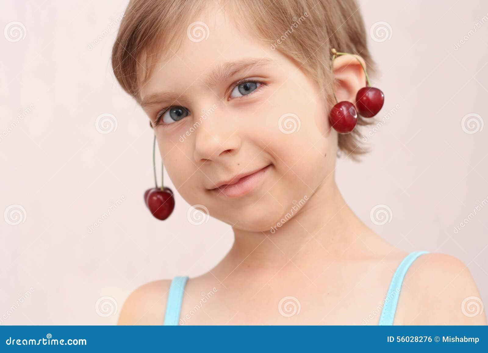 Little Girl With Cherries Earrings