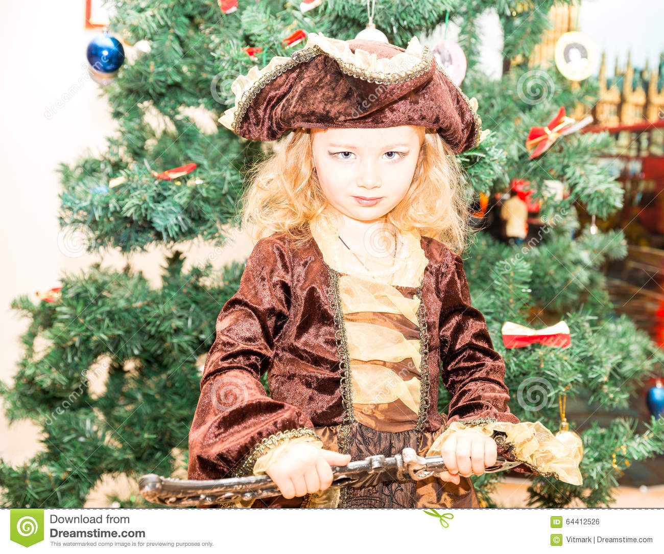 Little Girl Christmas Tree: Little Girl Child Dressed As Pirate For Halloween On