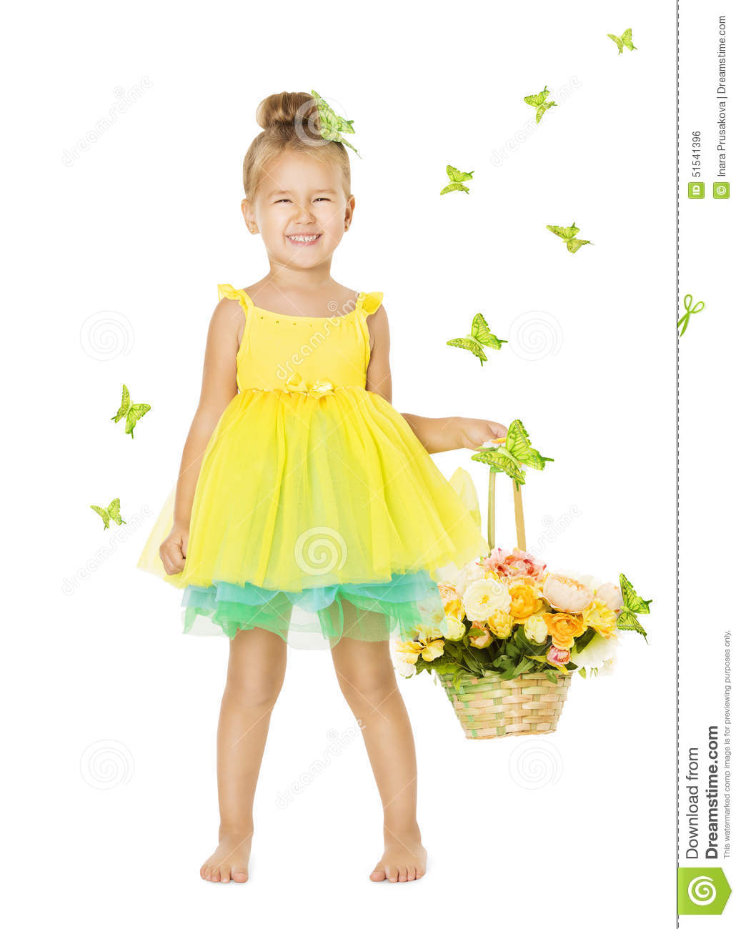 little girl in children dress with basket happy smiling kid stock photo image 51541396. Black Bedroom Furniture Sets. Home Design Ideas