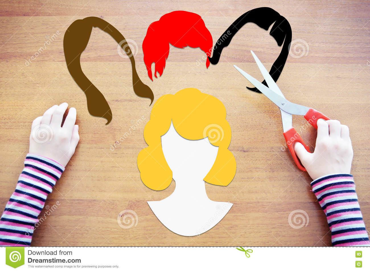 Little Girl Choosing A Haircut Stock Photo Image Of Conceptual