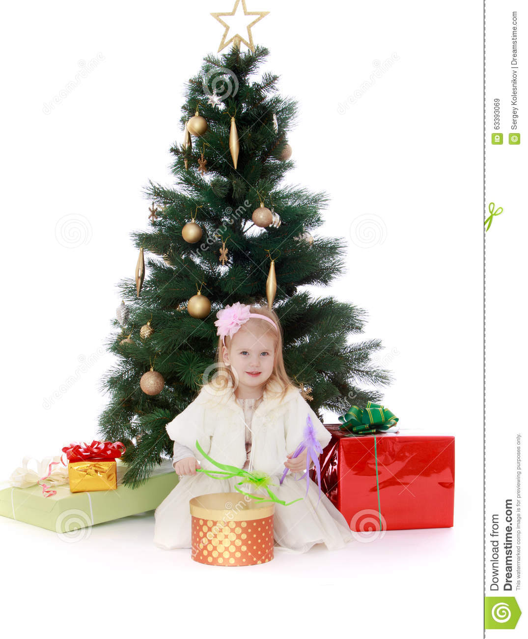 Little Girl Christmas Tree: Little Girl At The Christmas Tree Stock Image