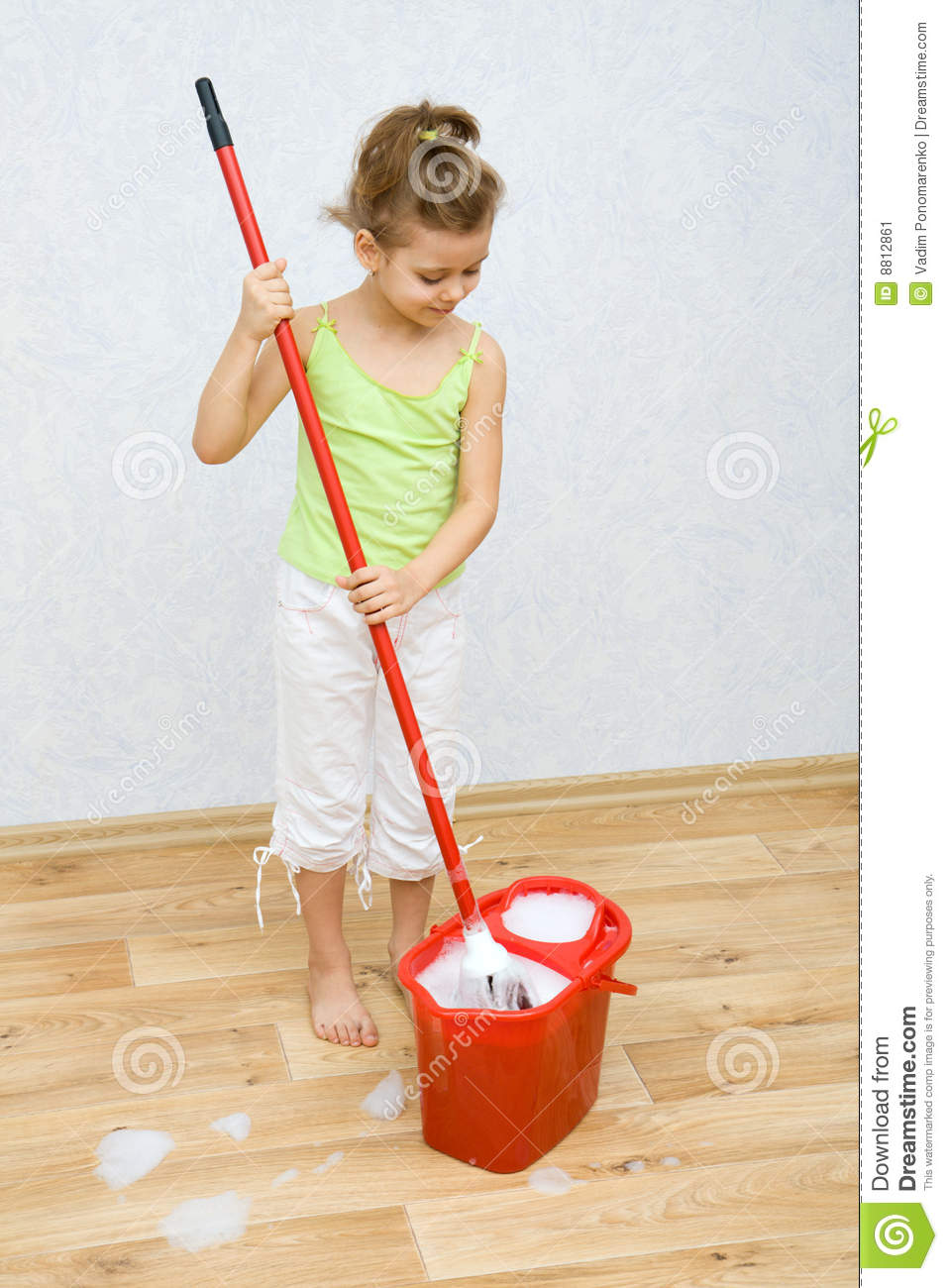 Little Girl Cleaning The Floor Stock Image Image 8812861