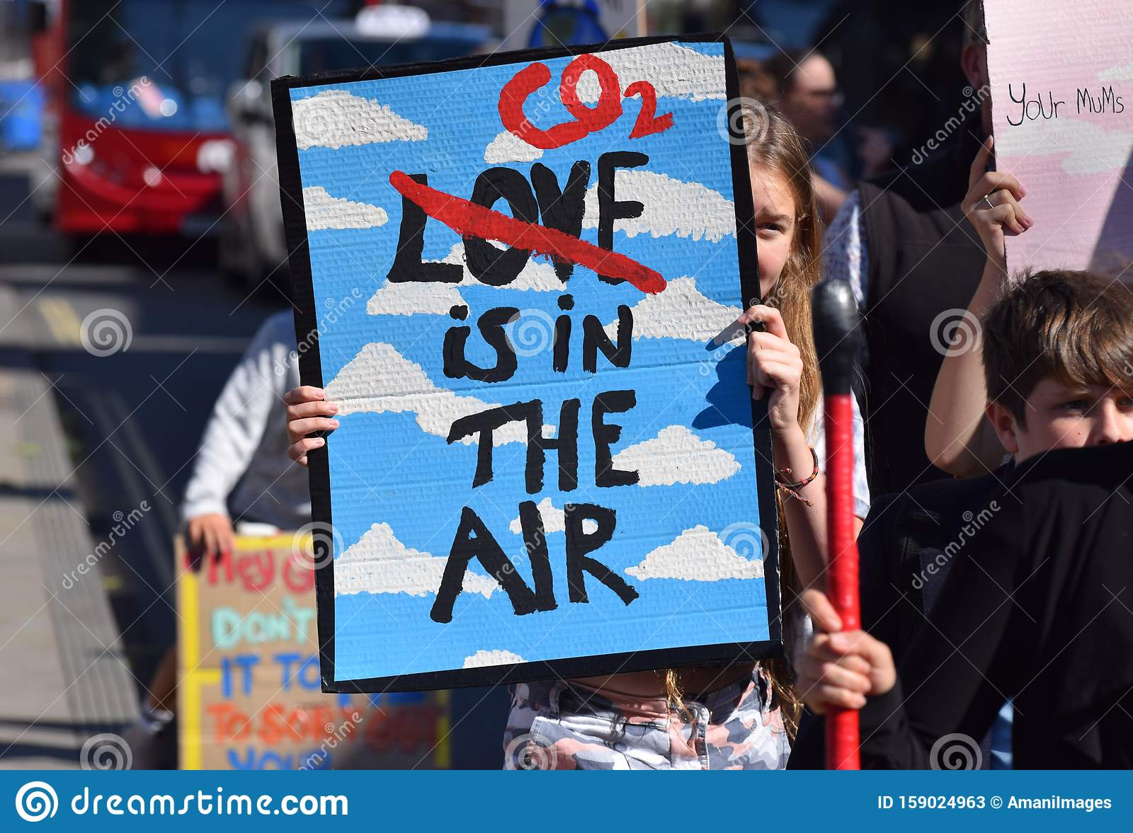 Youth Climate Change strike #FridaysforFuture. A little girl in a climate change protest on Friday 20 September 2019