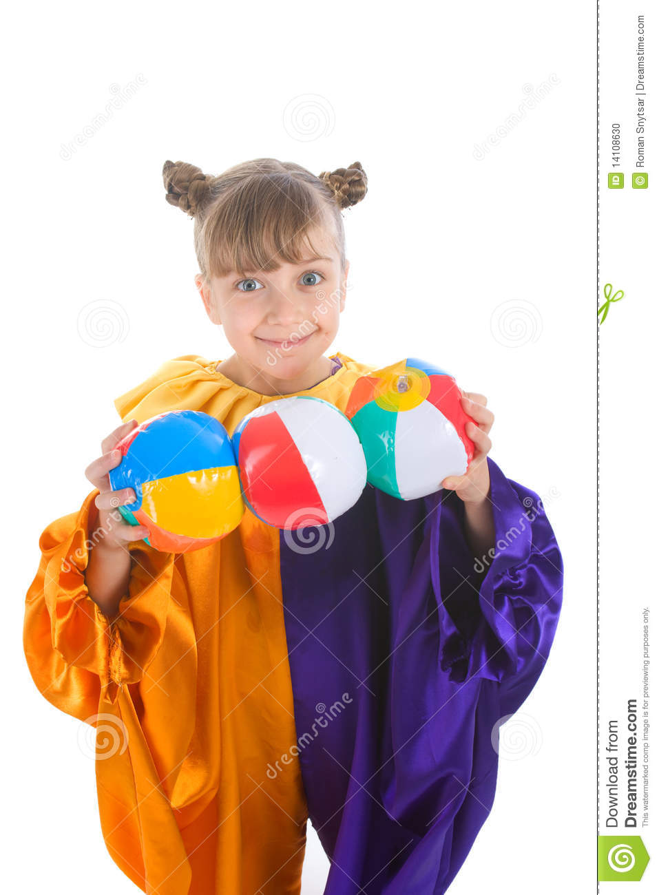 Little Girl In Clown Costume Stock Photo Image Of Colorful Blond