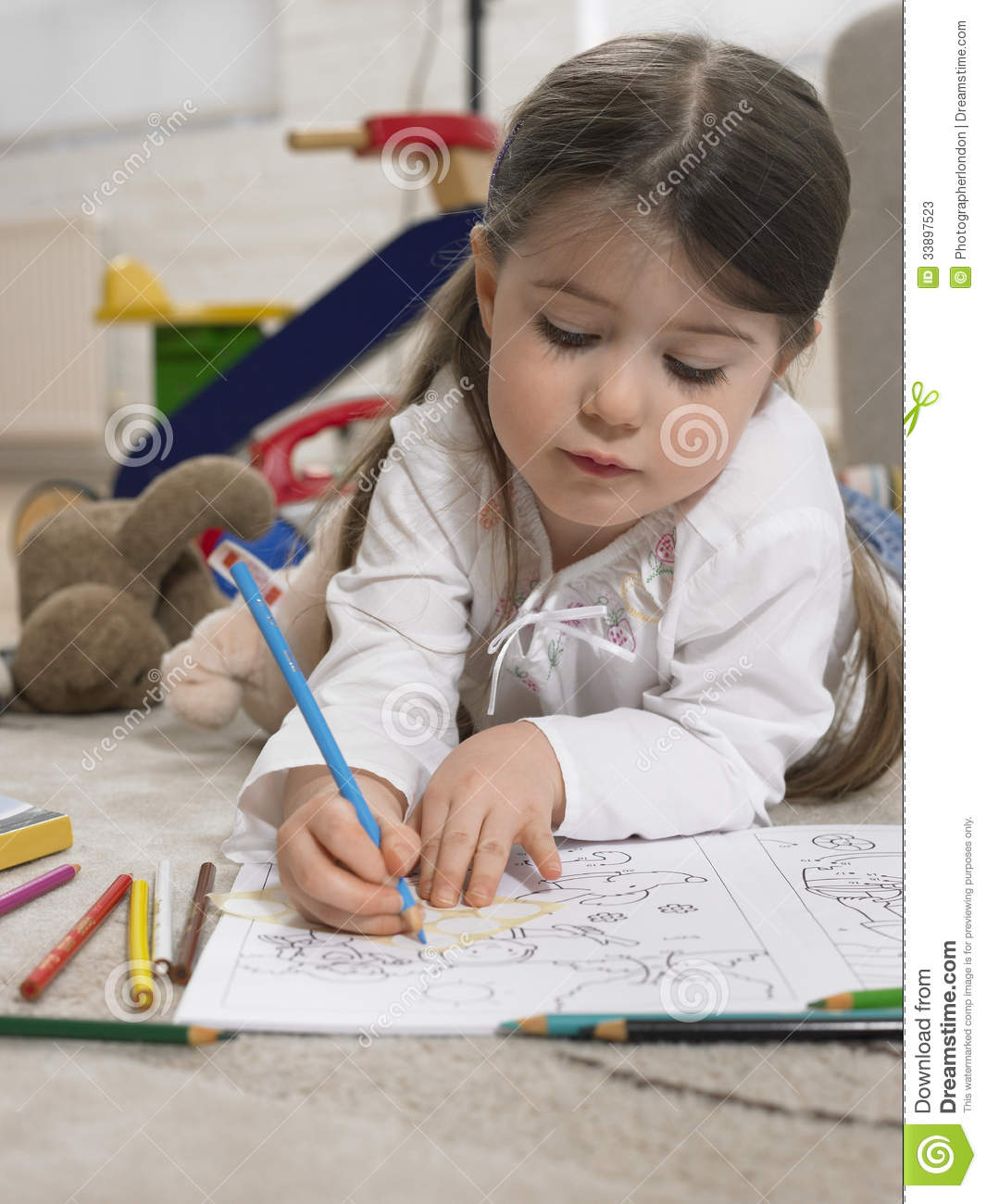 Little Girl Coloring Book On Floor Stock Image - Image of cute ...