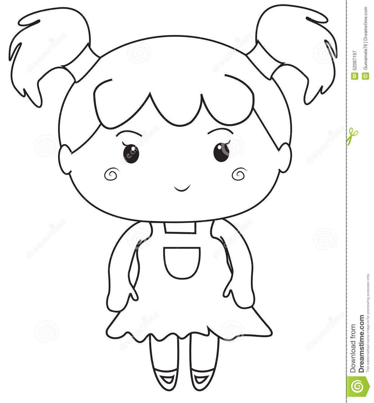 Little girl coloring page stock illustration. Illustration of ...