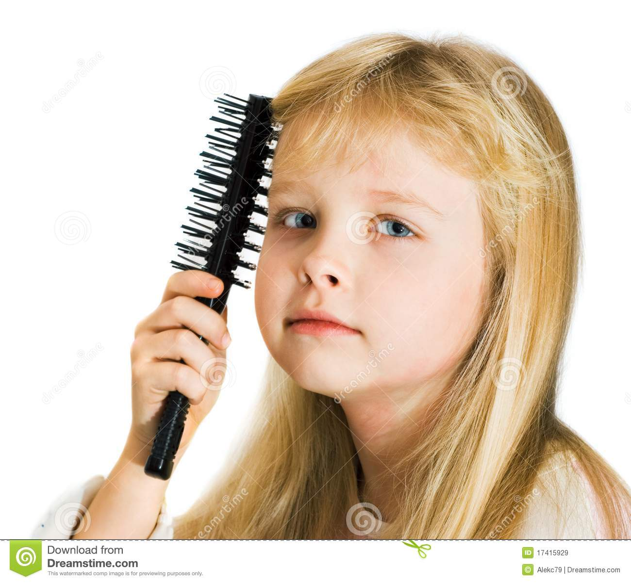 Little Girl Combing Her Hair Stock Image Image Of Hand