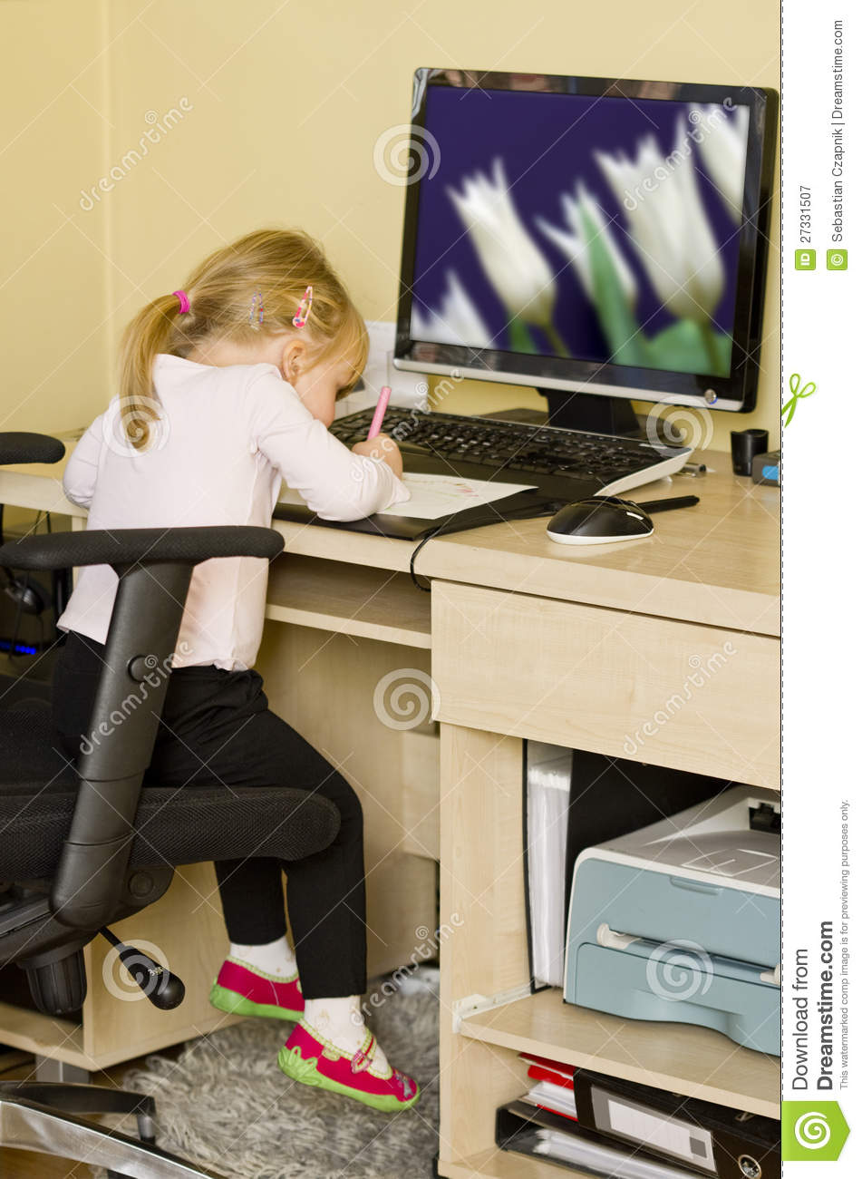 Little girl at computer desk royalty free stock photography image 27331507 - Desk girl image in ...