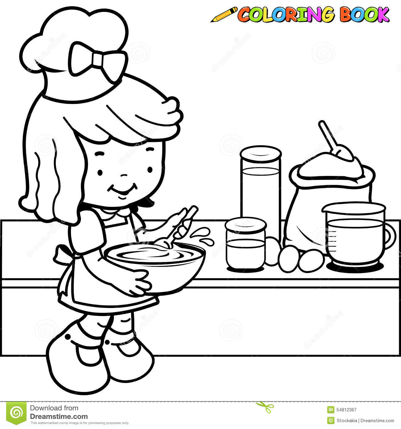 little girl cooking coloring page - Coloring Page Girl