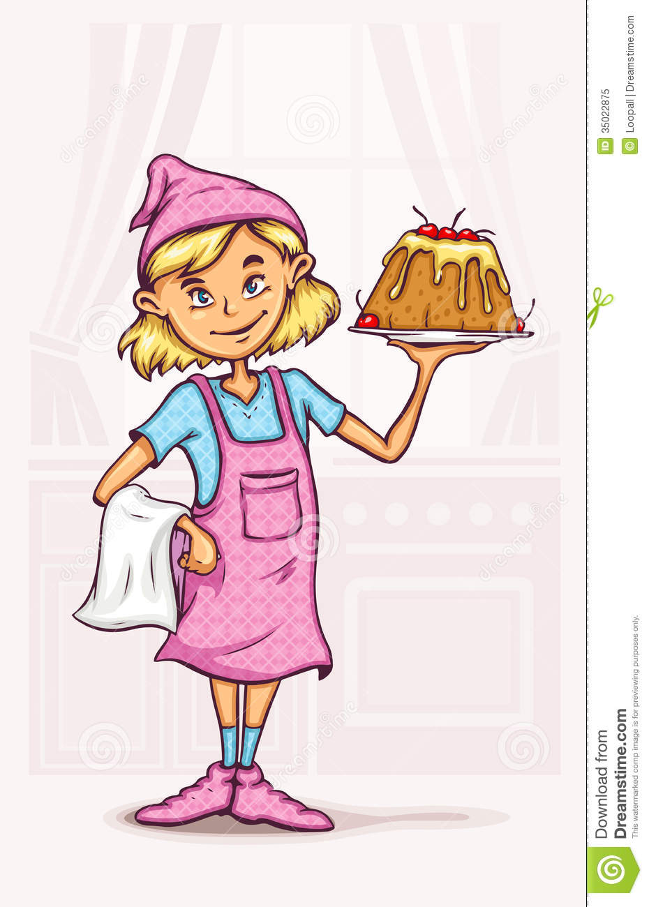 Little Girl Cooking Sweet Cake At The Kitchen Stock Vector