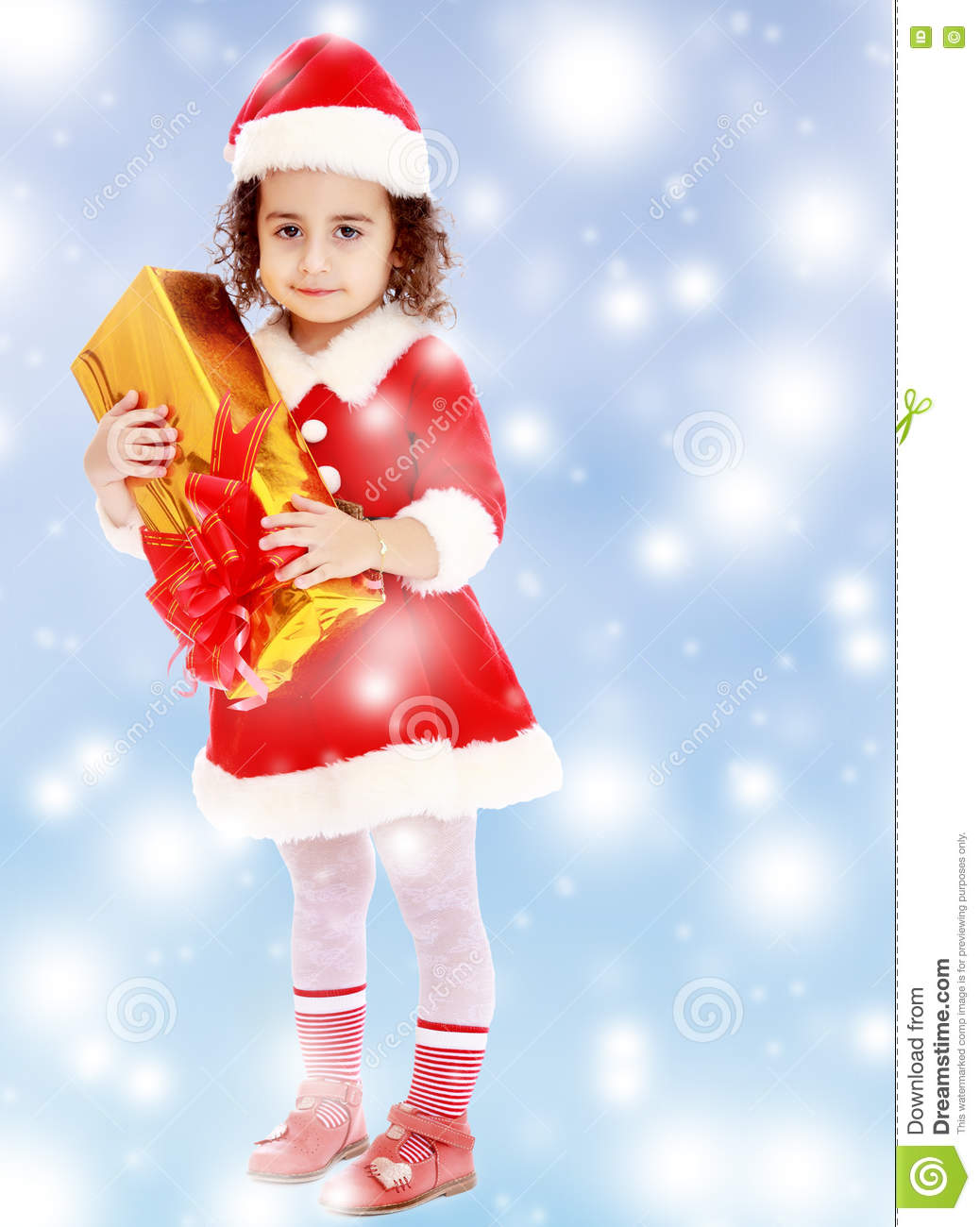 627e4a118f04 Little Girl In Costume Of Santa Claus With Gift Stock Photo - Image ...