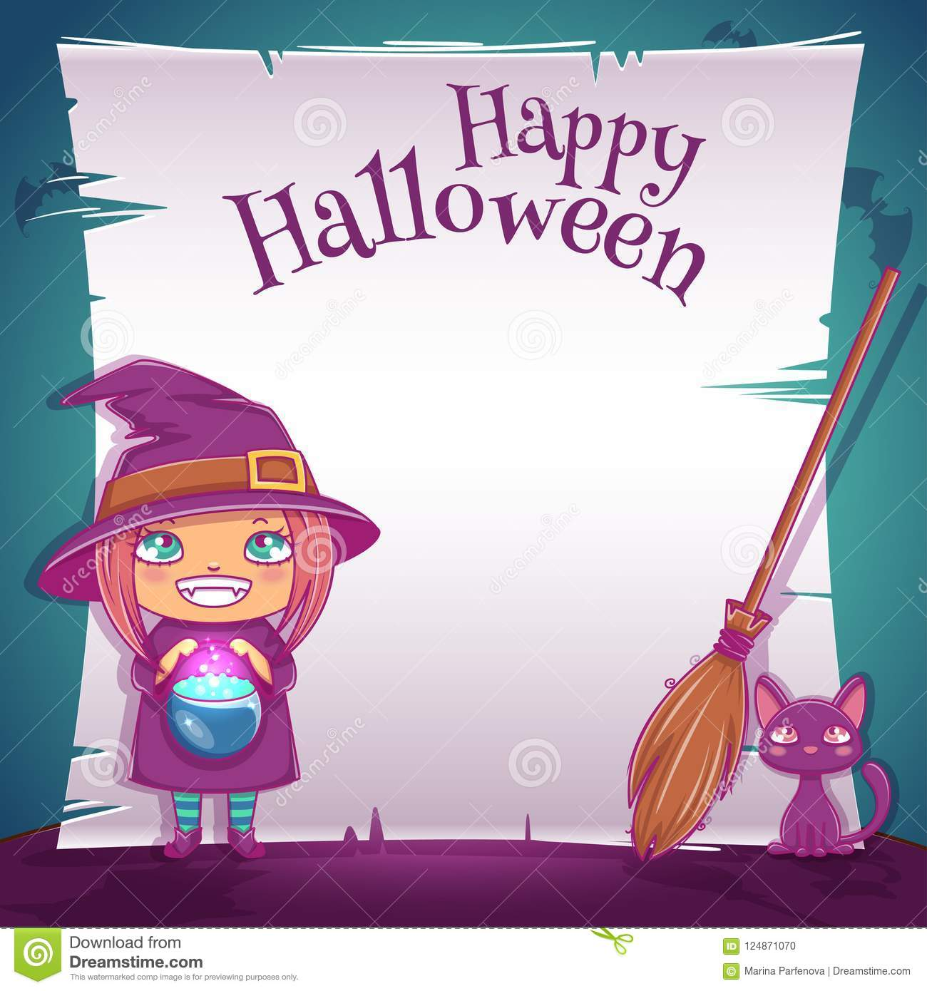 little girl in costume of witch with black kitten and broom happy
