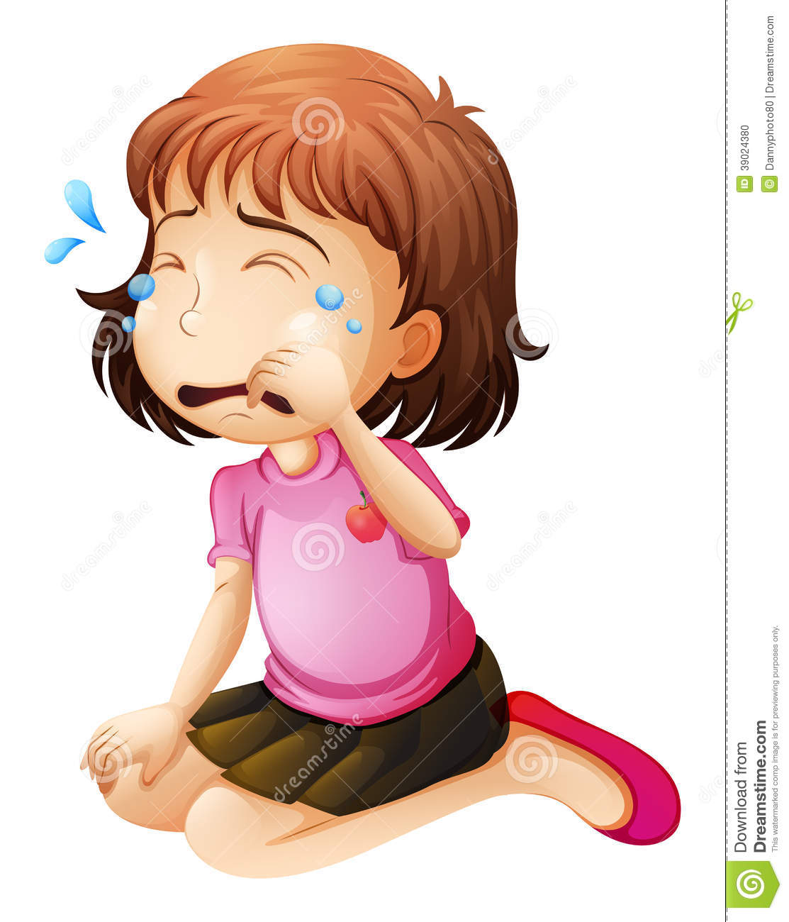 Cartoon of chubby girl crying