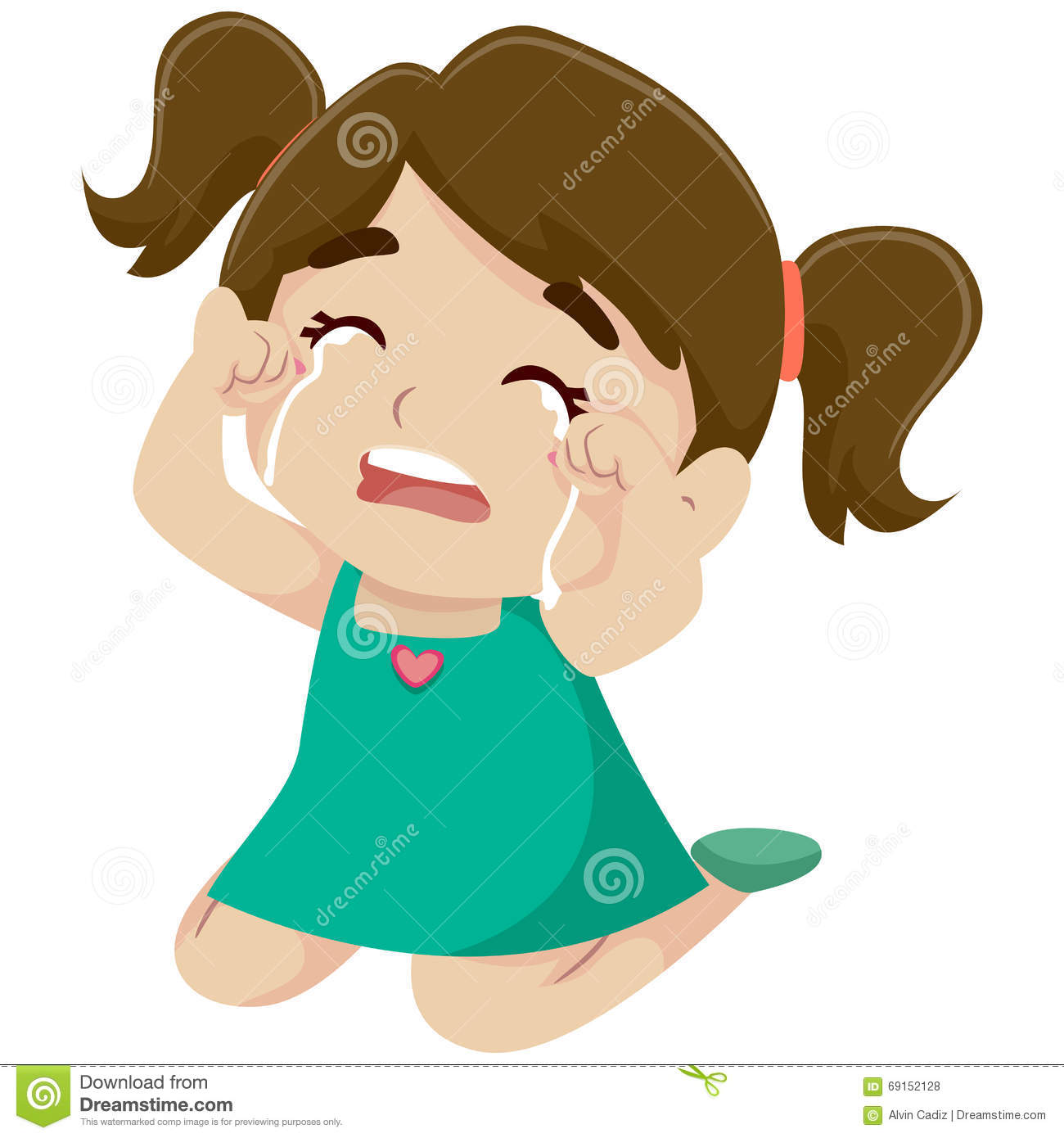 Little Girl Crying stock vector. Illustration of lady ...
