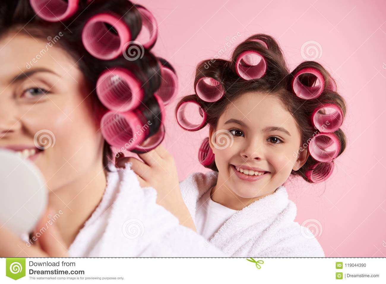 Little Pretty Girl In Hair Curlers Stock Photo