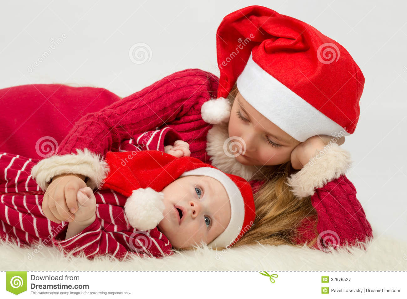 Little Girl With Cute Baby Boy Lie Royalty Free Stock Photography ...