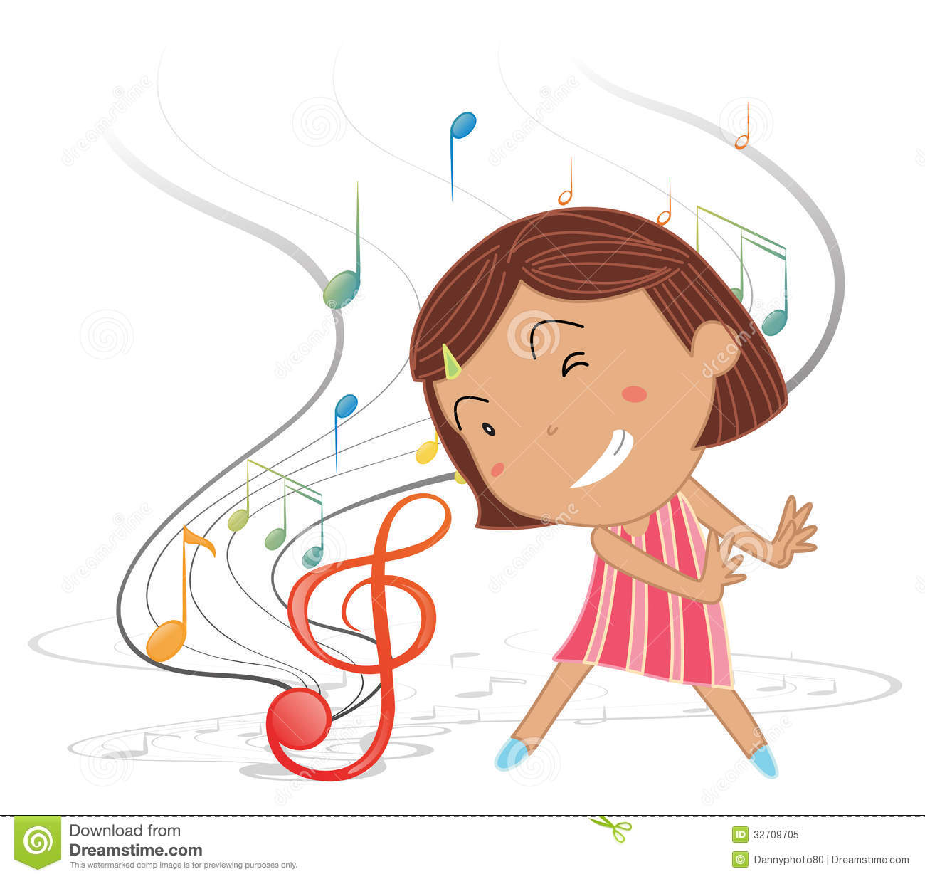 Illustration of a little girl dancing with musical notes on a white ...