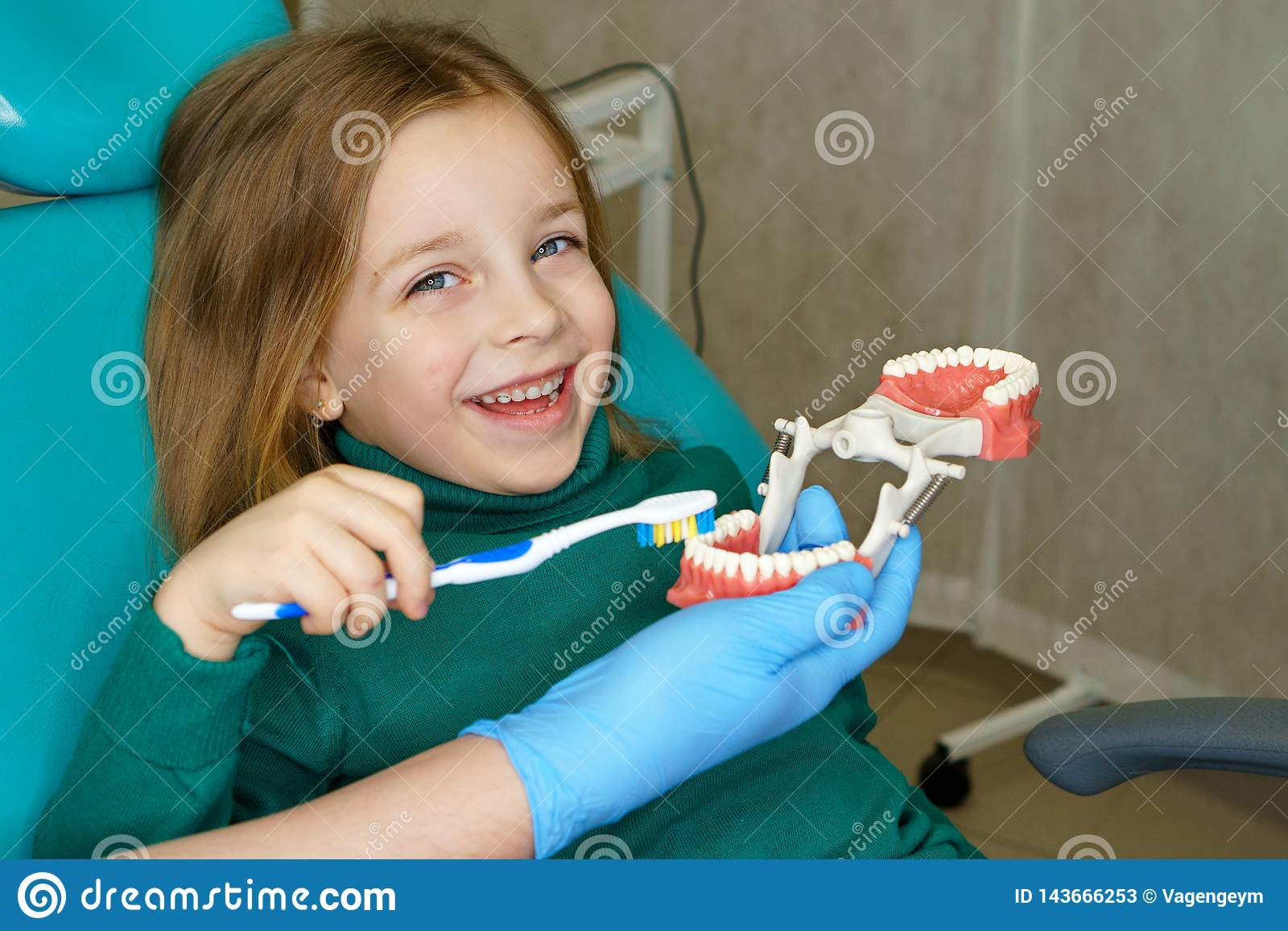 Little girl in dental clinic