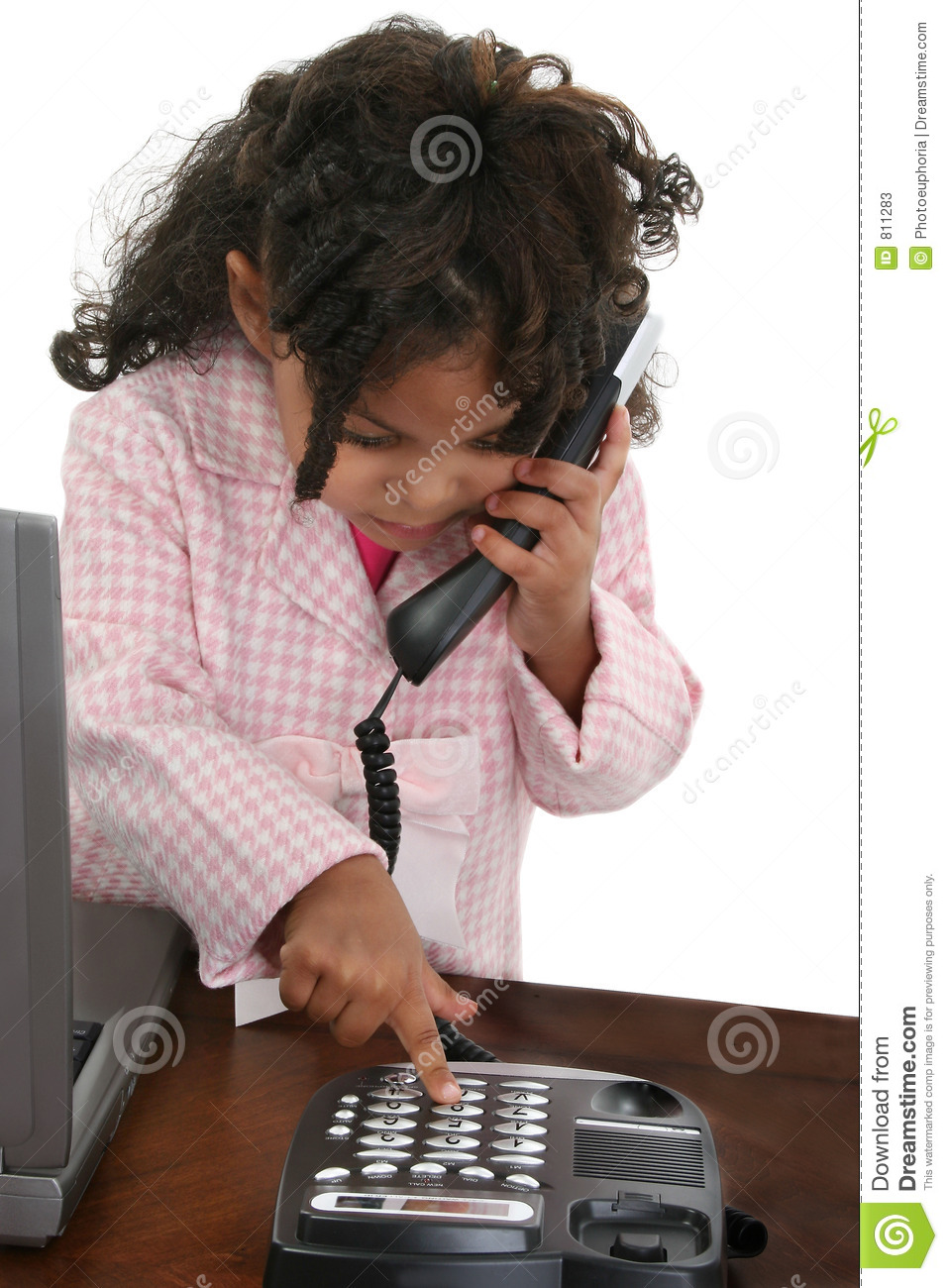 Little Girl Dialing Phone At Desk Stock Photos Image 811283