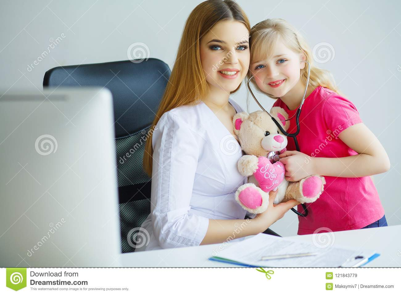 Little Girl And The Doctor For A Checkup Examined Stock