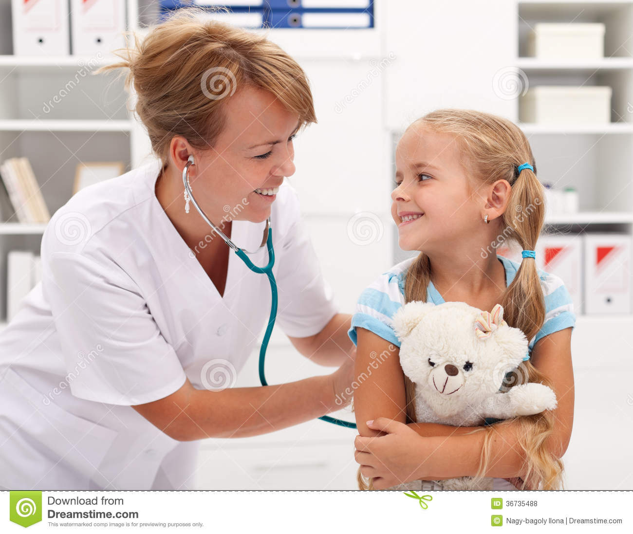 Little Girl At The Doctor For A Checkup Examination Royalty Free Stock ...