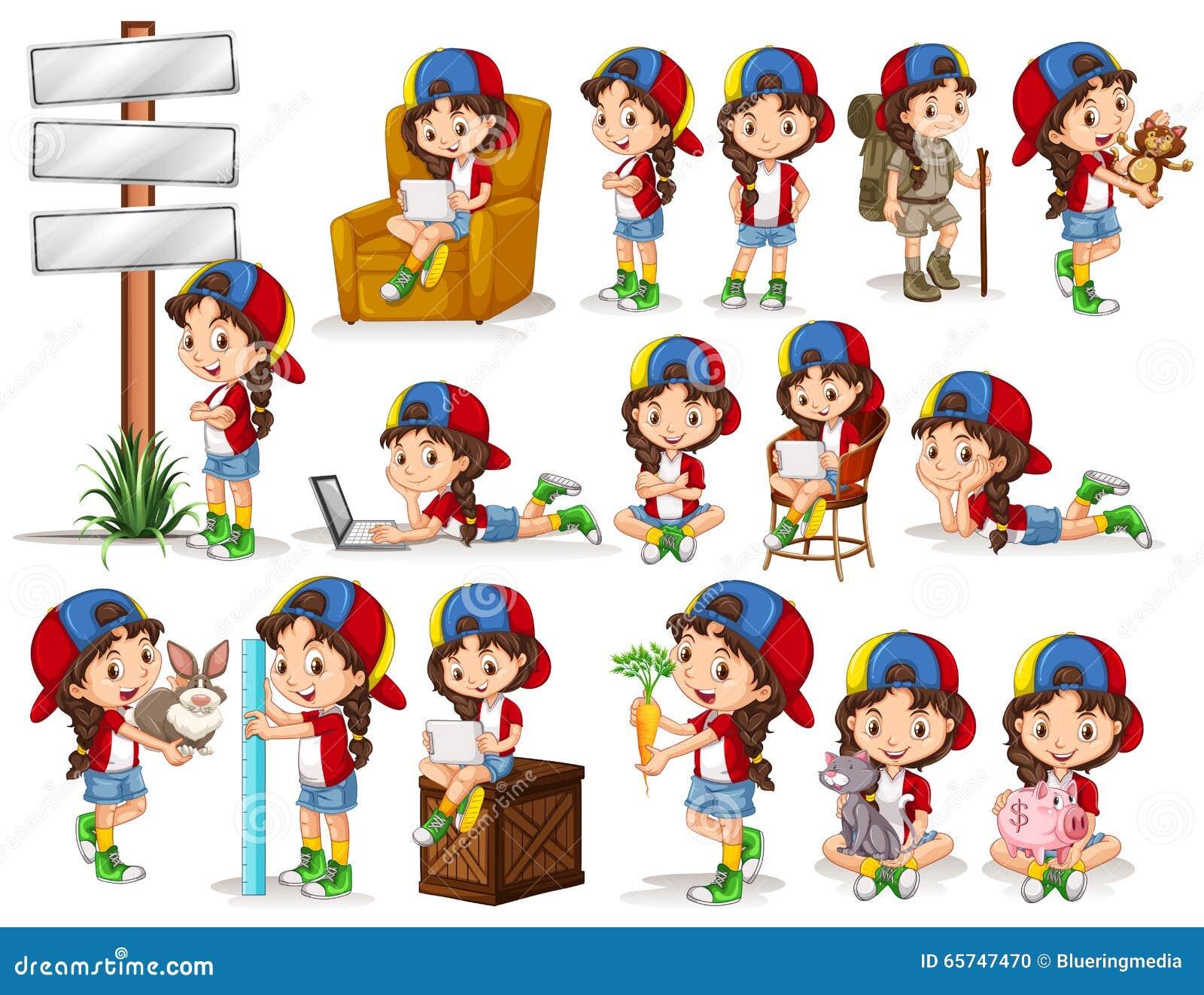 Little girl doing different activities