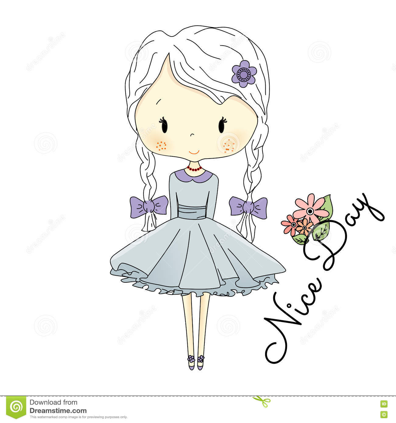 Little Girl Doll With Violet Bows. Vector Fairy Tail