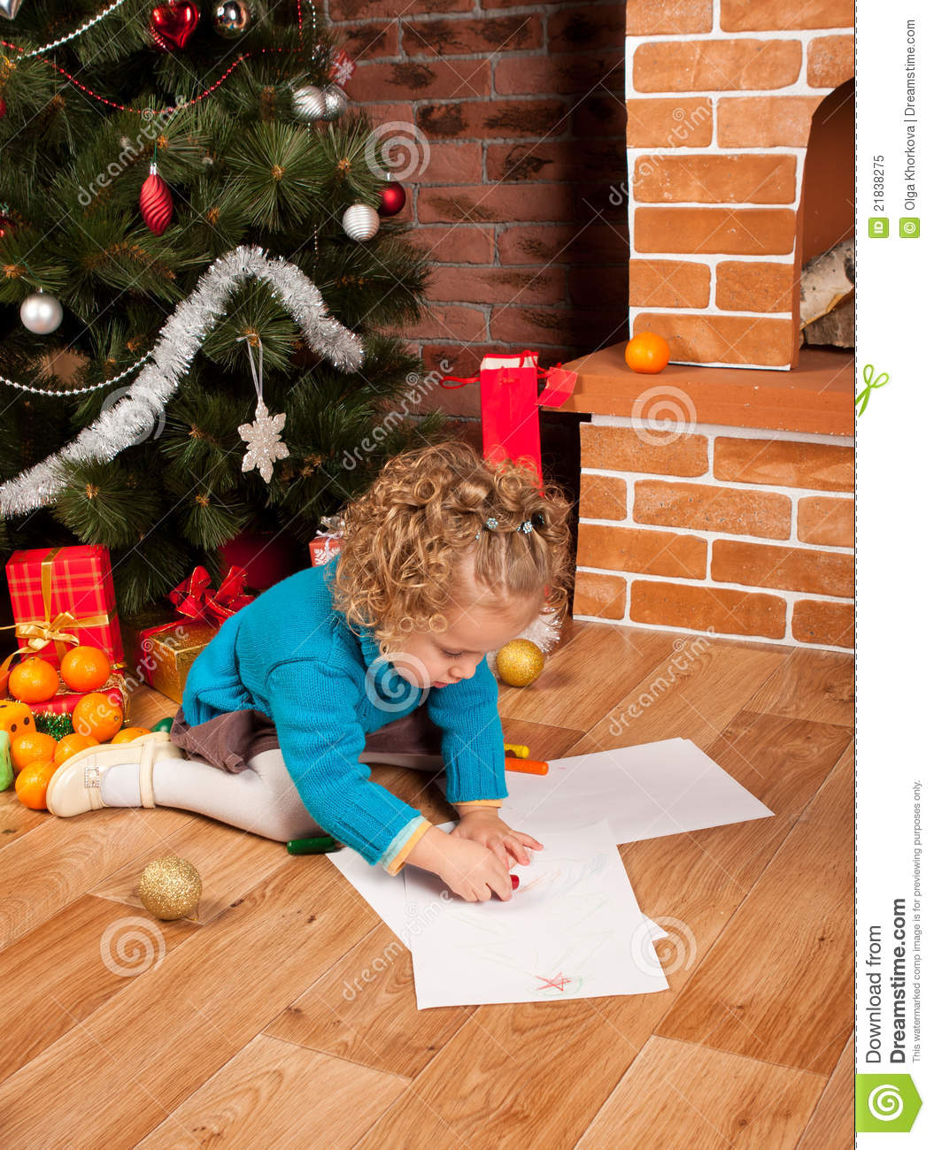 Little Girl Christmas Tree: Little Girl Drawing Near Christmas Tree Stock Image
