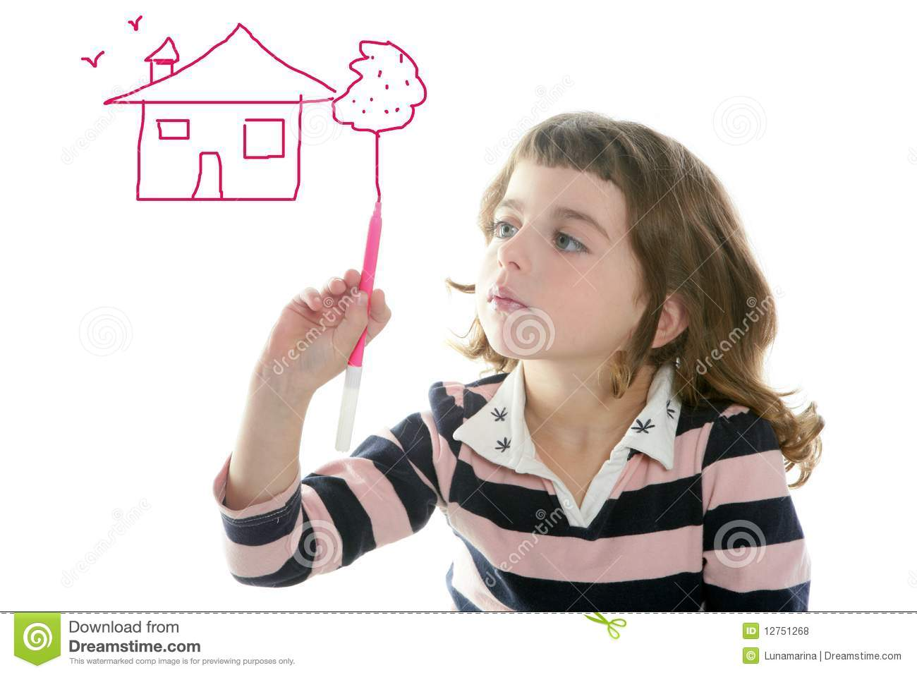 little girl drawing real state house stock photo image of keypad
