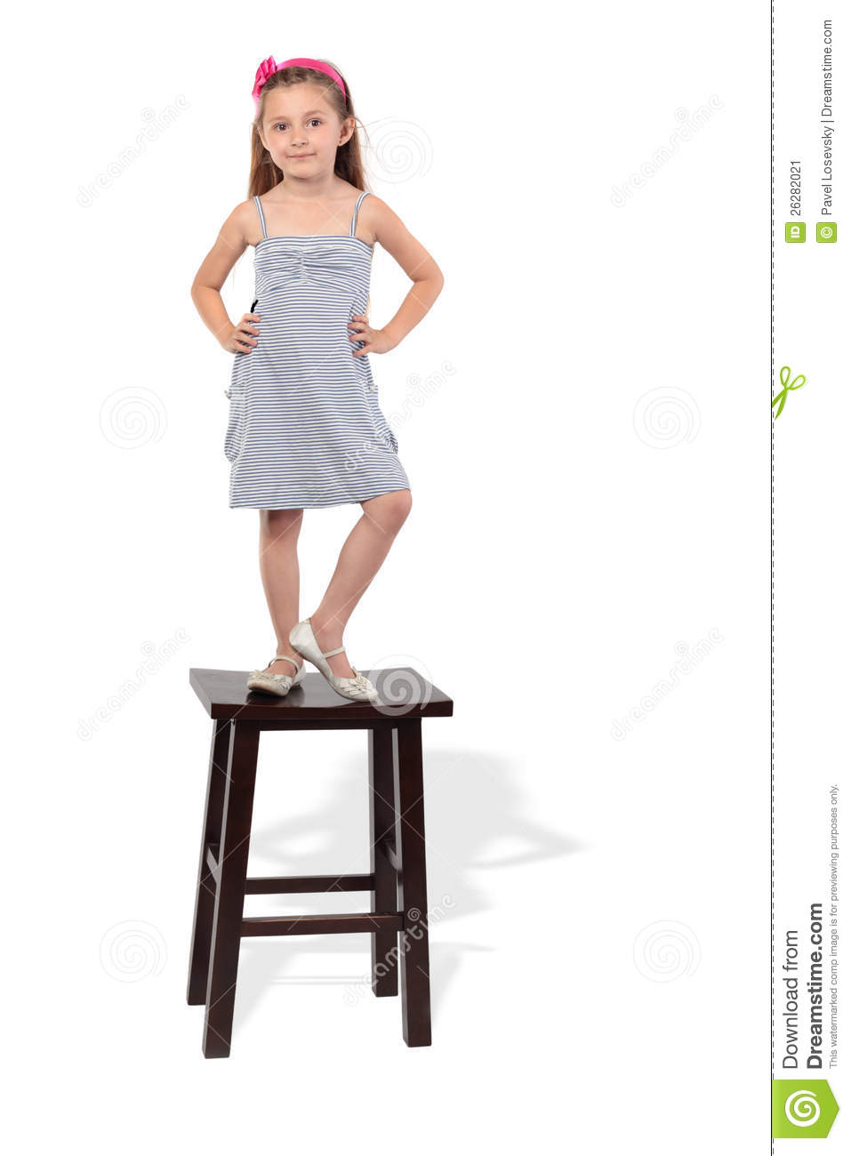 Little Girl In Dress Stands On Stool Stock Image Image