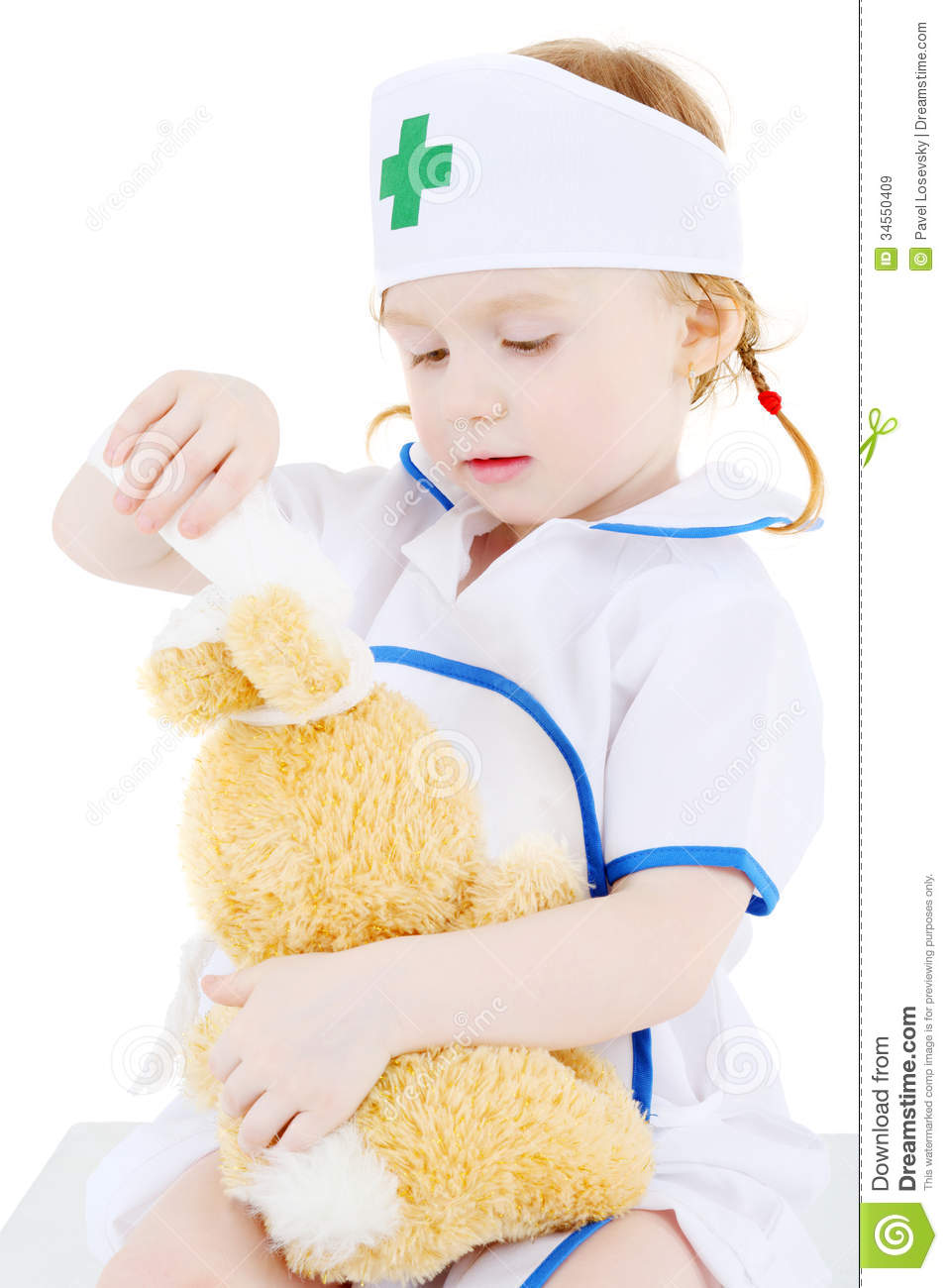 bf01c653357 Little Girl Dressed As Nurse Bandages Head To Toy Rabbit Stock Image ...