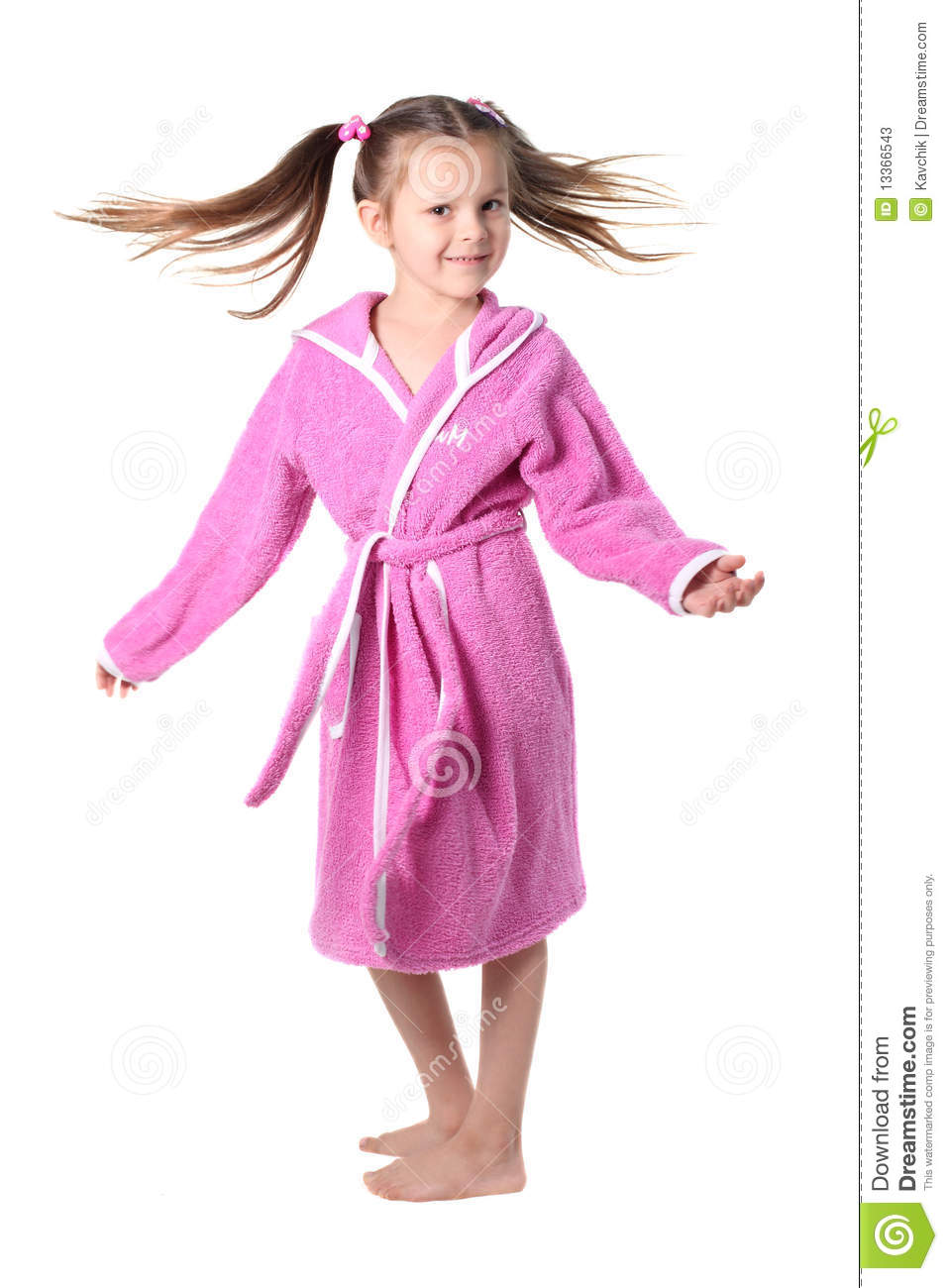 Dressing De Petite Fille little girl in dressing gown stock image - image of movement