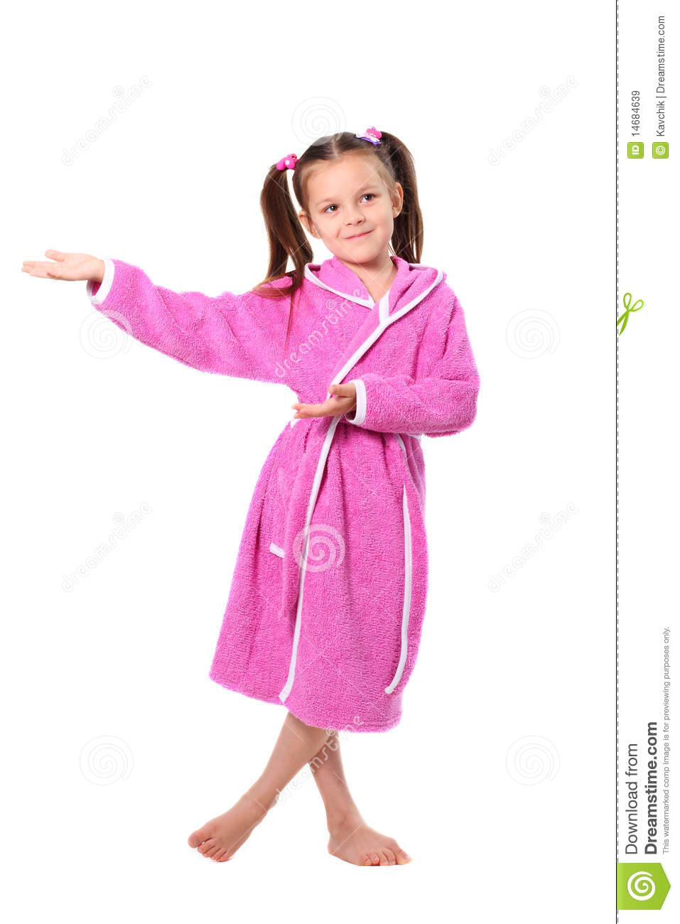 Little Girl In Dressing Gown Stock Image - Image of cheerful, child ...