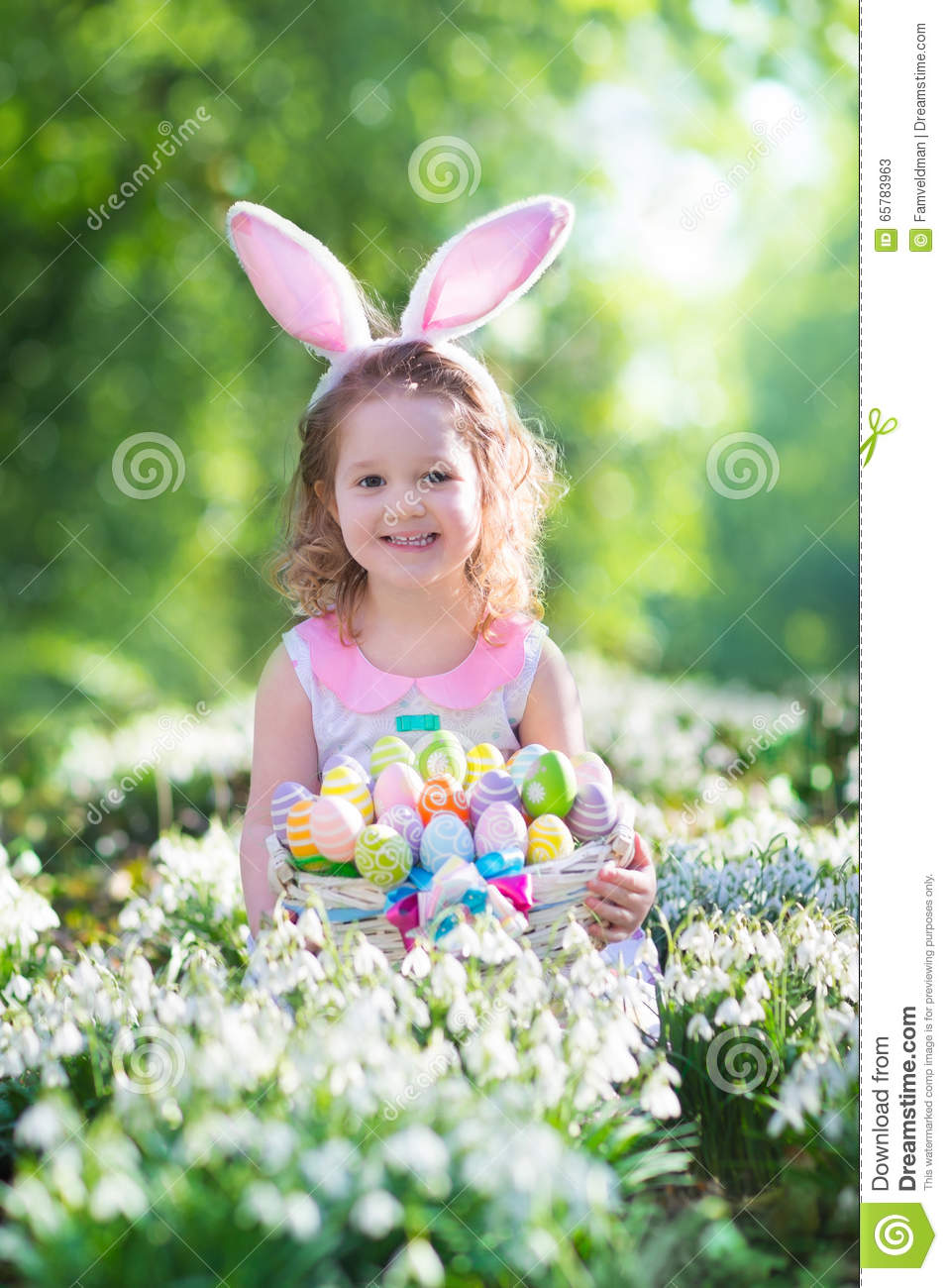 Little Girl With Easter Bunny Ears Stock Image Image Of Crown