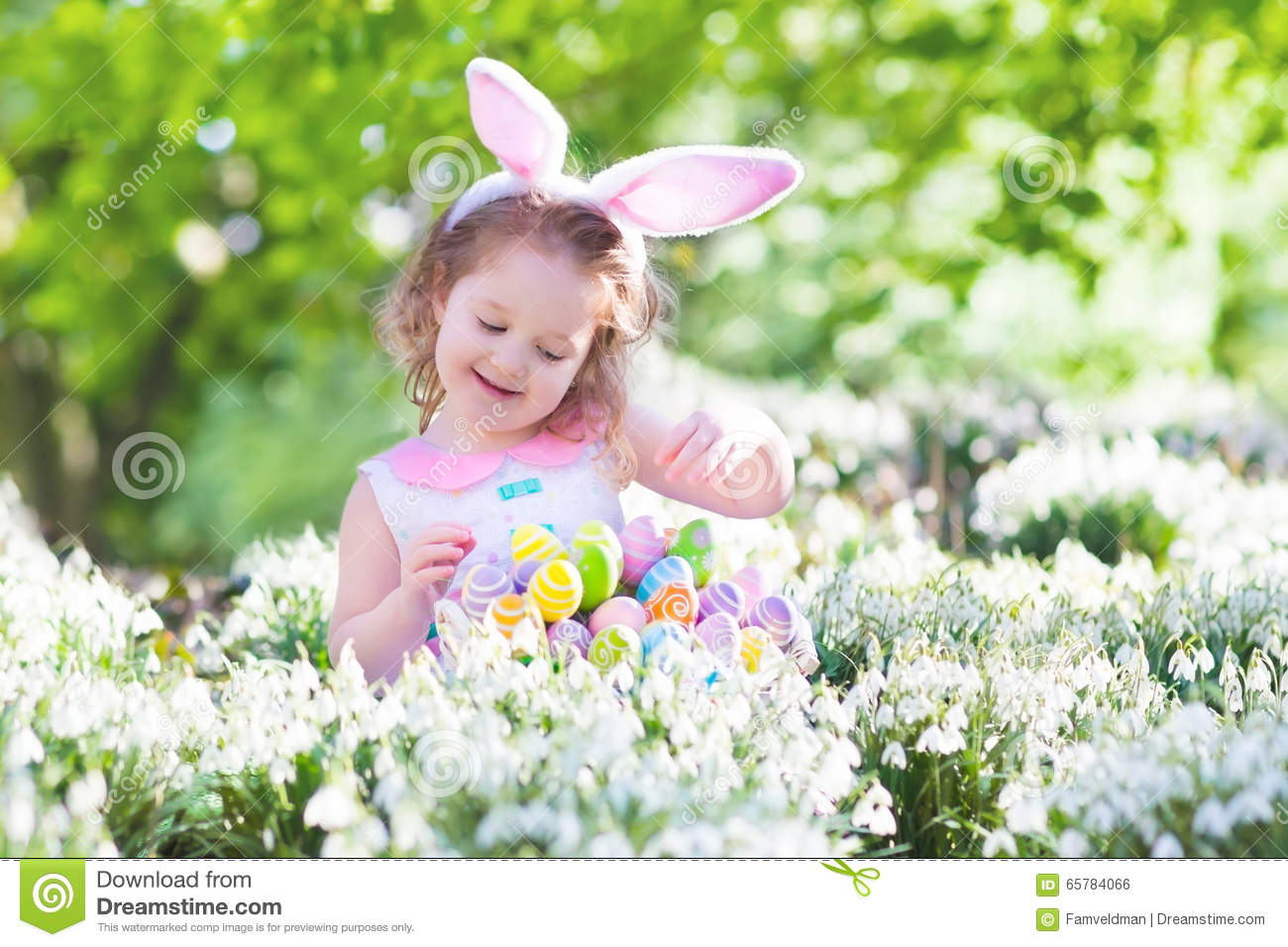 Little Girl With Easter Bunny Ears Stock Photo Image Of Background
