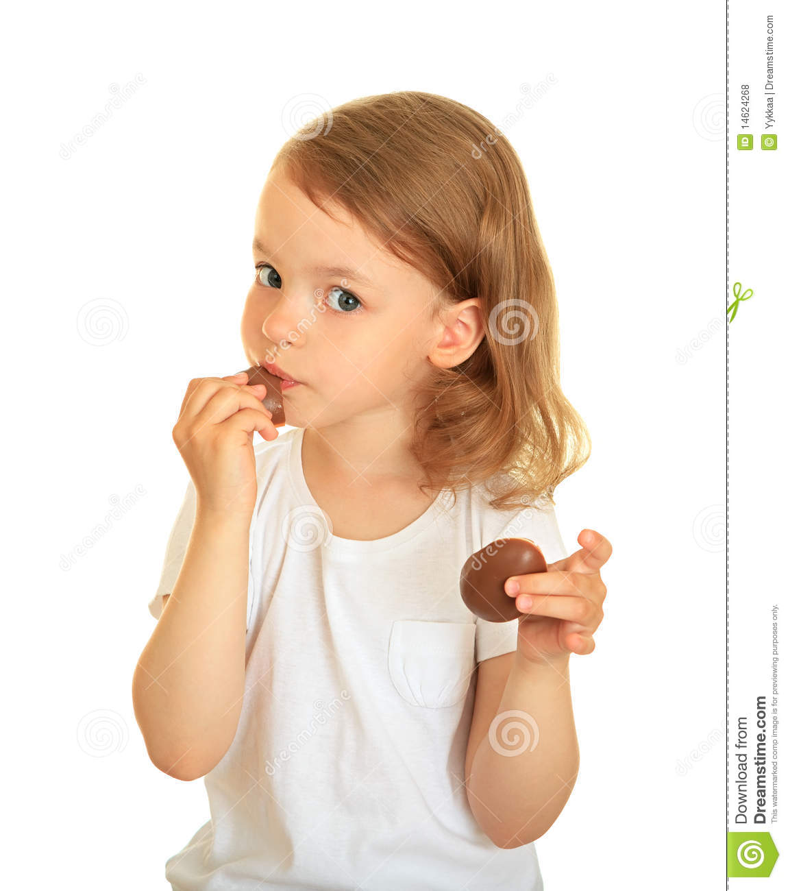 Little Girl Eating Chocolate. Royalty Free Stock Photos - Image ...