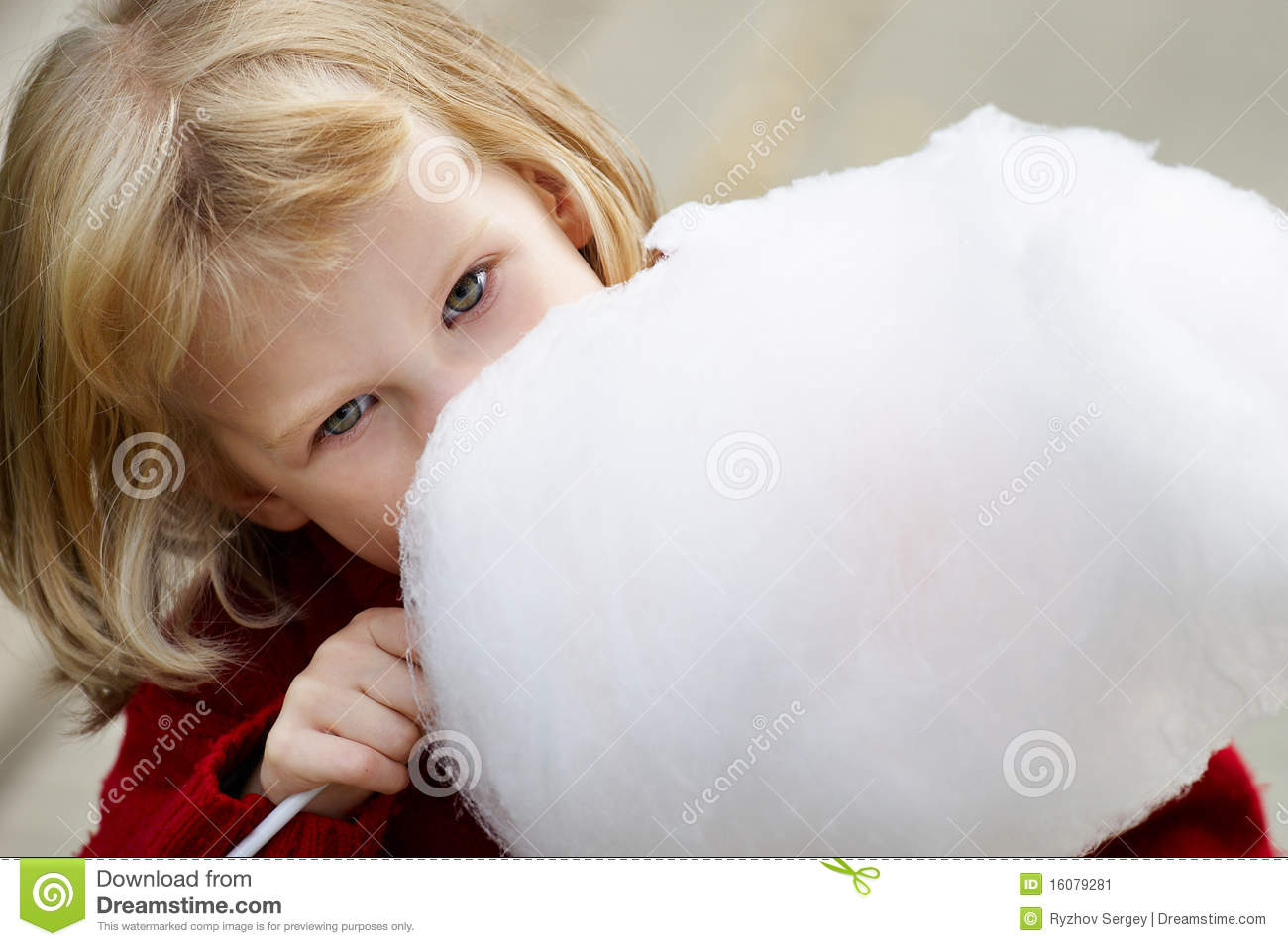 Little Girl Eating Cotton Candy Stock Image   Image  16079281