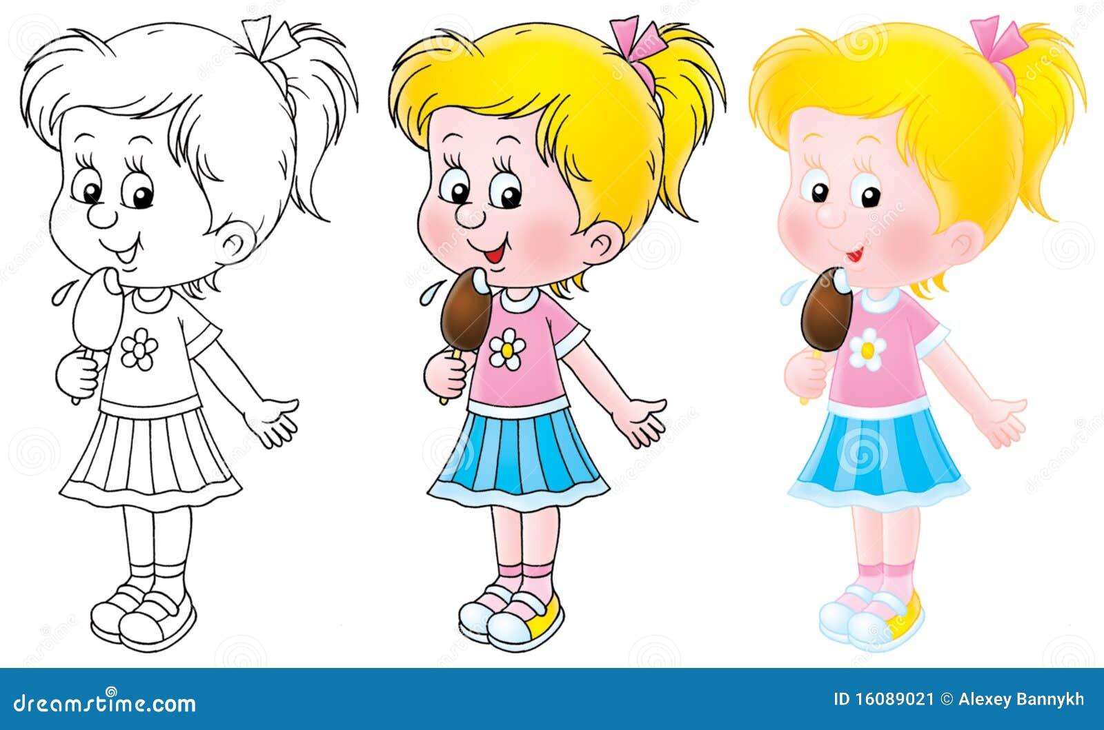Девочка ест морожено рисунок