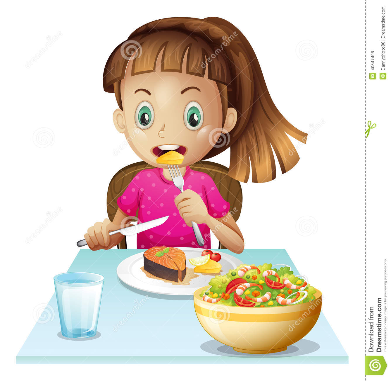 Little Girl Eating Lunch Stock Vector   Image  40547408