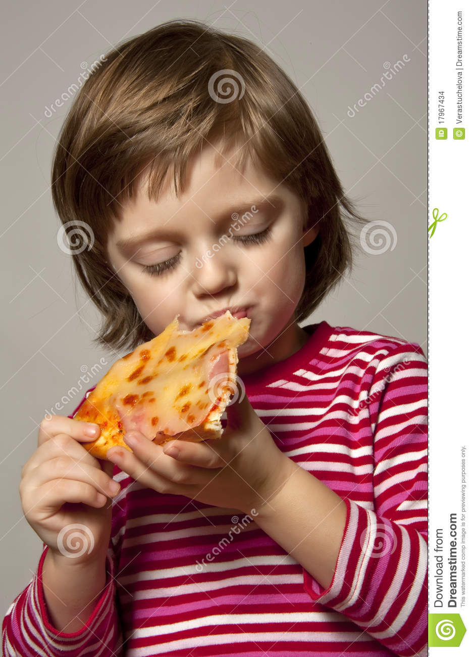 Little Girl Eating Pizza Stock Images - Image: 17967434
