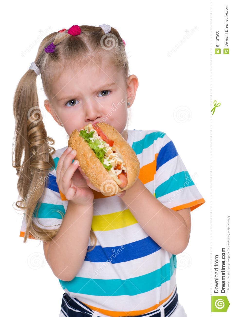Little Girl Eats Hot Dog Stock Photo Image 51137955
