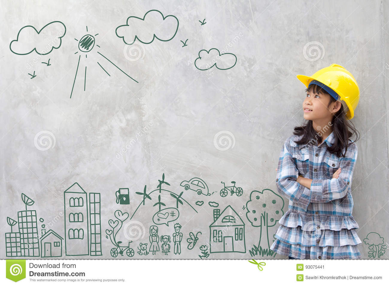 https://thumbs.dreamstime.com/z/little-girl-engineering-creative-drawing-environment-happy-family-eco-friendly-save-energy-against-brick-wall-93075441.jpg