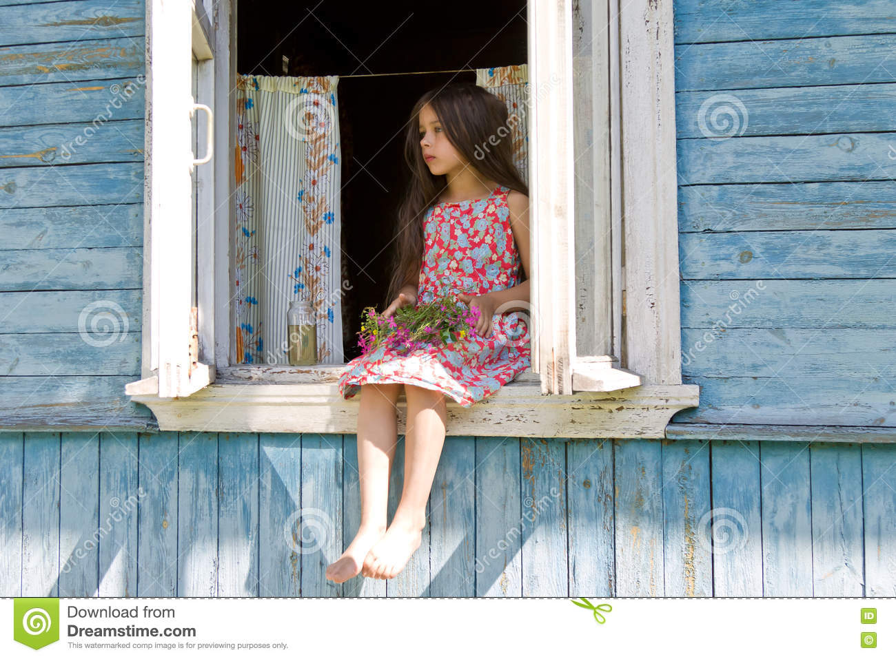 Little Girl Expecting Someone Sitting On The Country House