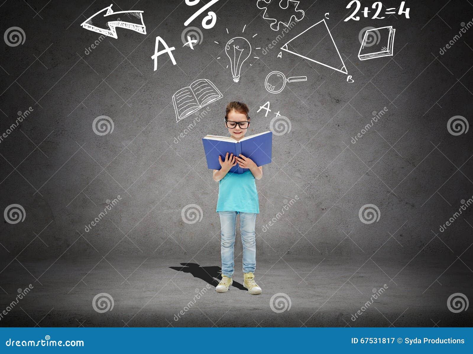 Little Girl In Eyeglasses Reading Math Textbook Stock Illustration